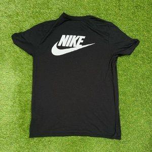 NIKE Cracked Logo T Shirt Black White